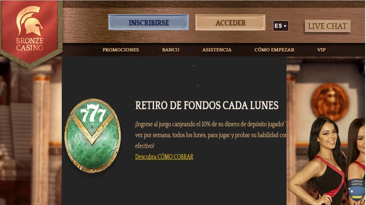Lunes de reembolso del 10% por retiro en Bronze Casino