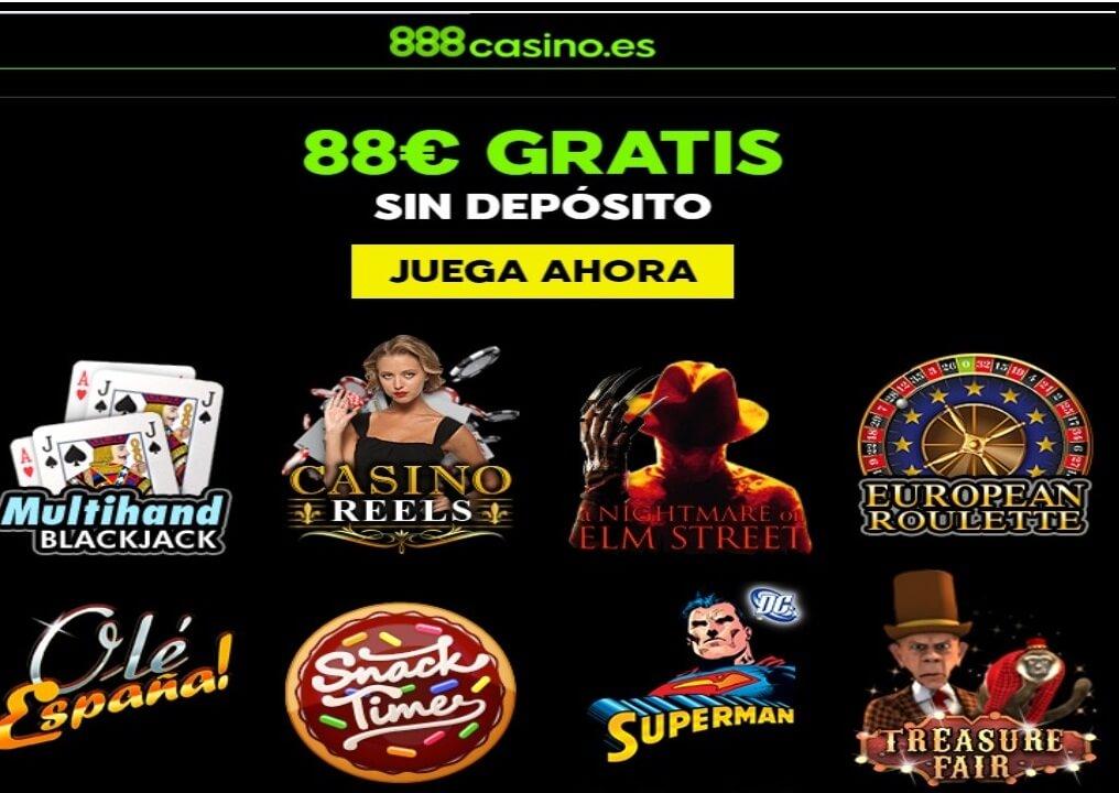 Por registro en 888 Casino el jugador recibe 88 euros sin depósito