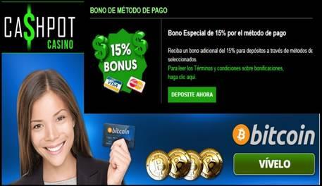 Casino Cashpot entrega hasta 15% promocional por método de ingreso