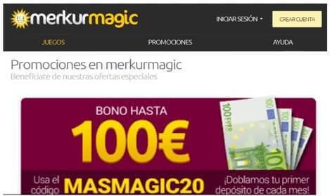 Merkurmagic otorga hasta 100 euros en los depósitos
