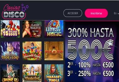Obtenga hasta 500 euros por depósito en Casino Disco
